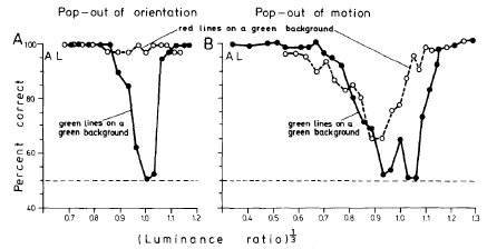 orientation but not motion popout at isoluminance